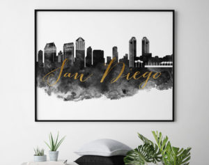 San Diego wall art print black and white second