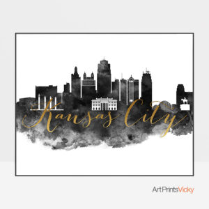 Kansas City wall art print black and white