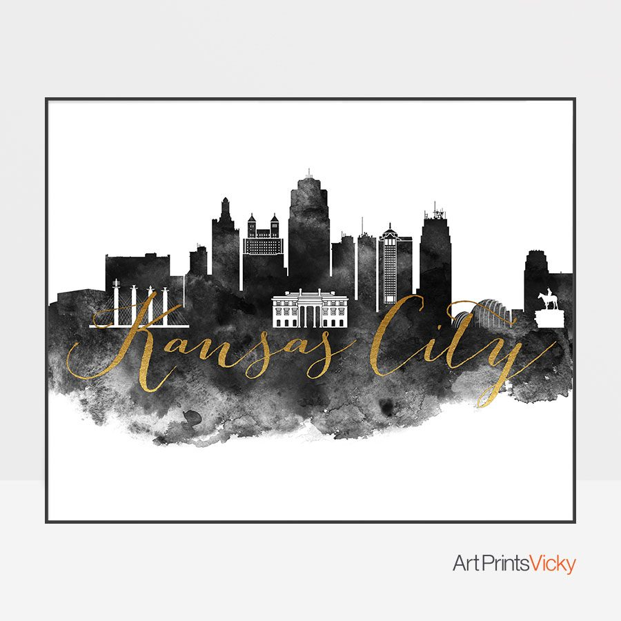 Kansas City wall art print black and white