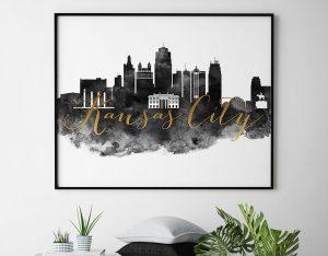 Kansas City wall art print black and white second
