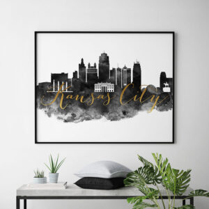Kansas City wall art print black and white second