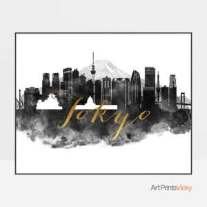 Tokyo wall art print black and white