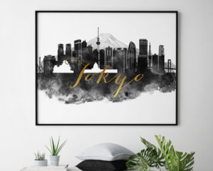 Tokyo wall art print black and white second