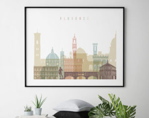 Florence skyline art pastel white landscape second