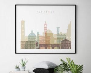 Florence skyline art pastel white landscape second