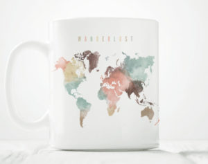 World map mug wanderlust pastel