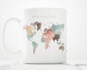 World map mug wanderlust pastel