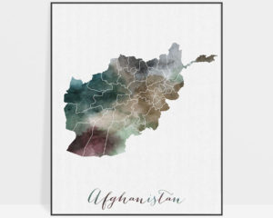 Afghanistan map print