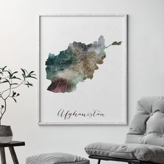 Afghanistan map print second