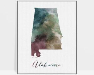 Alabama State map print