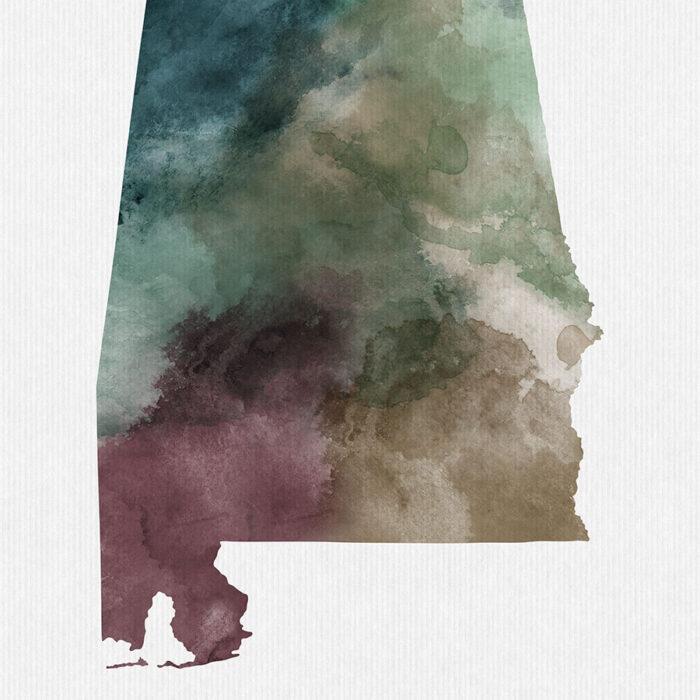 Alabama State map print detail