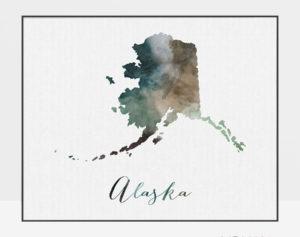 Alaska State map print