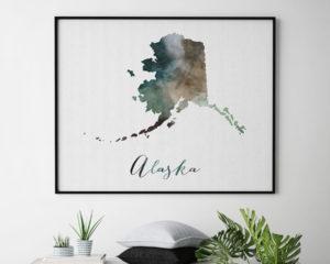 Alaska State map print second