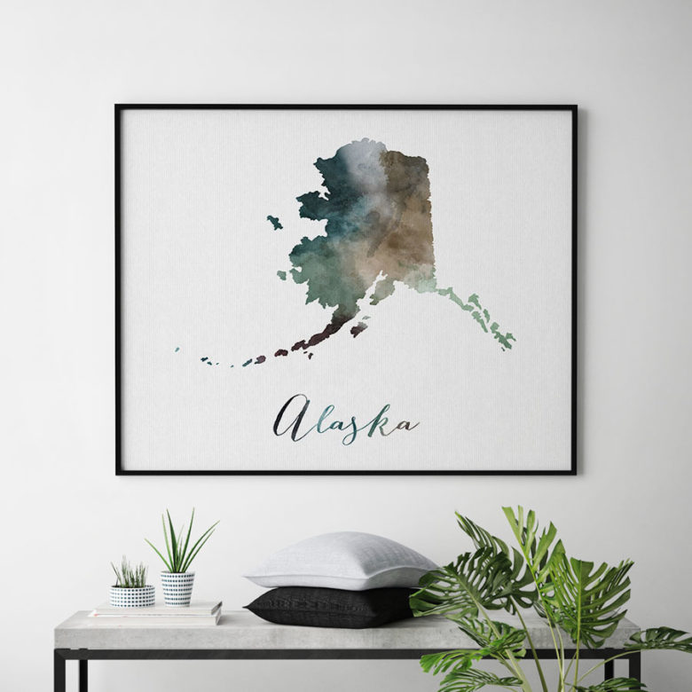 Alaska State map print second