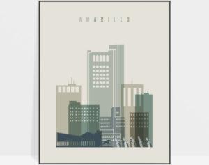 Amarillo print skyline earth tones 1