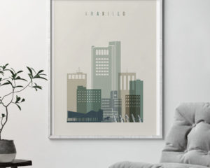 Amarillo print skyline earth tones 1 second