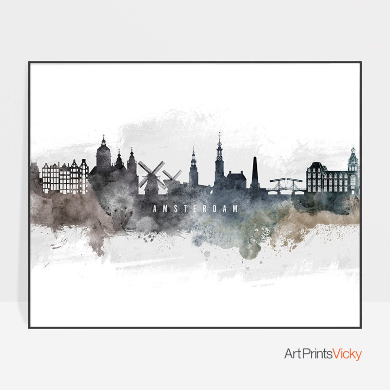 Amsterdam art print watercolor