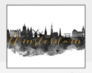 Amsterdam cityscape watercolor poster-black white gold