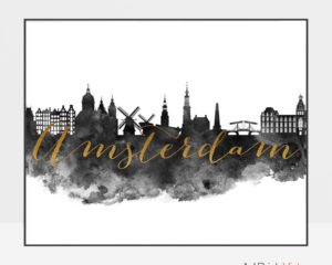 Amsterdam cityscape watercolor poster-black white gold