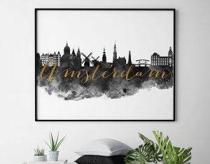 Amsterdam cityscape watercolor poster-black white gold second