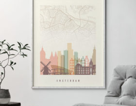 Amsterdam map print poster pastel cream second