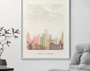 Amsterdam map print poster pastel cream second