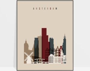 Amsterdam art poster earth tones 2