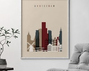 Amsterdam art poster earth tones 2 second