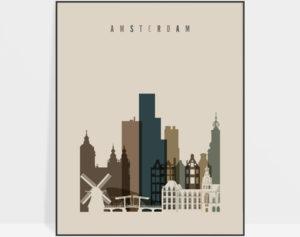Amsterdam art print earth tones 3