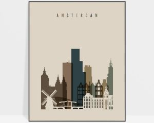 Amsterdam art print earth tones 3