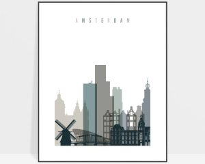 Amsterdam art print skyline earth tones 4