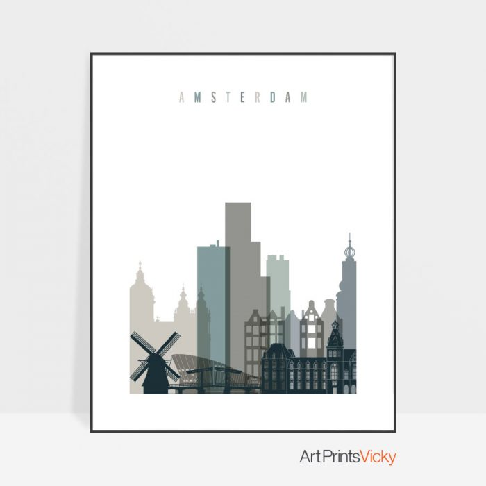 Amsterdam art print skyline earth tones 4