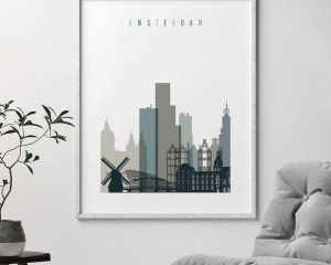 Amsterdam art print skyline earth tones 4 second