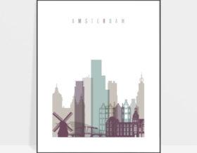 Amsterdam skyline print pastel 2