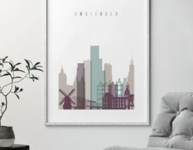 Amsterdam skyline print pastel2