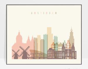 Amsterdma skyline poster pastel cream landscape