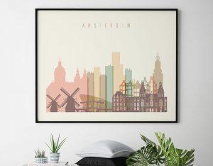 Amsterdam skyline poster pastel cream landscape second