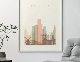 Amsterdam skyline print pastel cream second photo