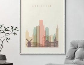 Amsterdam skyline print pastel cream second photo