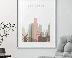 Amsterdam skyline print pastel white second