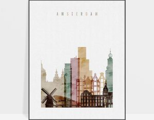 Amsterdam skyline art print watercolor 1 photo