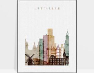 Amsterdam skyline art print watercolor 1 photo