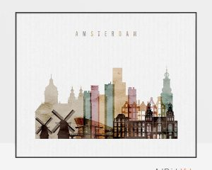 Amsterdam skyline print watercolor 1 landscape photo