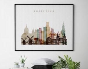 Amsterdam skyline print landscape second