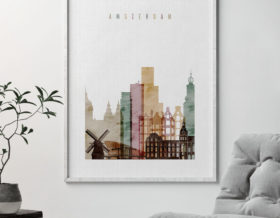Amsterdam skyline art print second