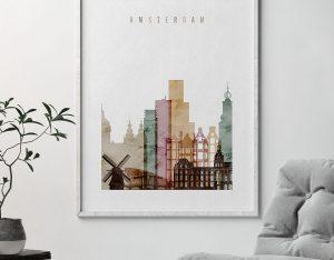 Amsterdam skyline art print second