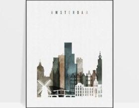 Amsterdam art print watercolor 2