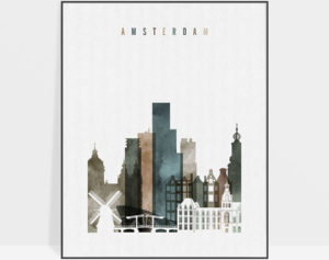 Amsterdam art print watercolor 2