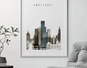 Amsterdam art print watercolor 2 second