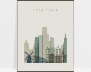 Amsterdam print skyline earth tones 1